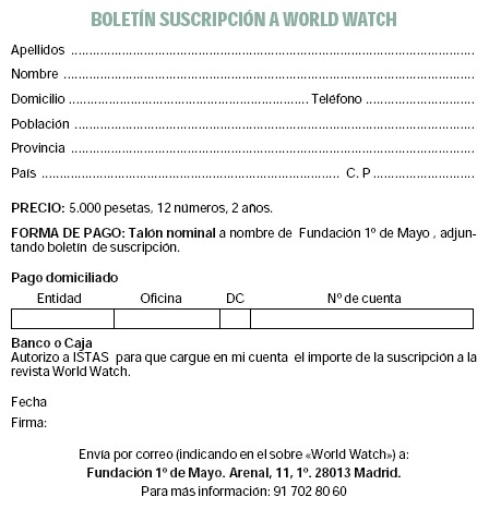 Suscríbete a la revista World Watch